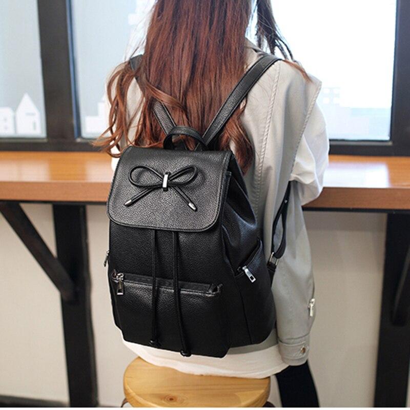 Image 5 - Women backpack  leather bags school backpacks female girls college preppy bag bowkont waterproof backbag Lady black mochilasBackpacks   -