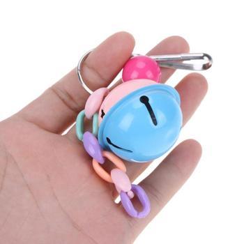 Colorido loro columpio pájaro jaula juguete mascota colgante doble color campana bola loro pie juguete interactiva pájaro juguete Papegaaien Speelgoed