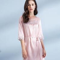 100% Real Silk Sleepshirts for Women 2019 Lace Sleepwear Bedgown Ladies Pure Silk Nightdress Girls Natuaral Silk Nightgown