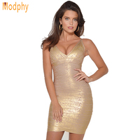 Women Evening Dresses New Fashion Gold Foil Print Bandage Mini Dress New Fashion Celebrity Prom Dress