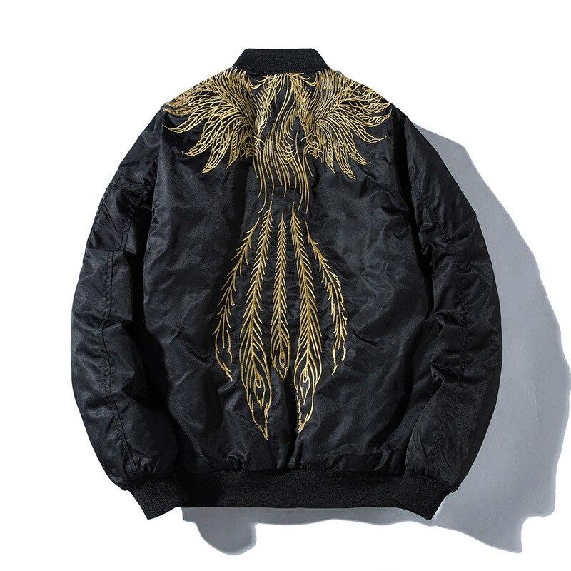 523b861d36dc1 Hombre cazadoras Bomber bordado ala pluma invierno piloto chaqueta moda Hip  Hop chaqueta de béisbol japonés Streetwear de los jóvenes