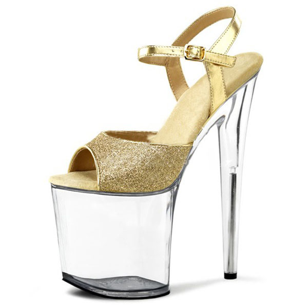 73b379a3602 Glitter bright look sexy sandals necessary 20 cm thick bottom heels catwalk  shows interest colourful shoes