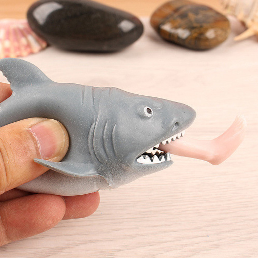 Funny Squeeze Toy Spit Feet Shark Stress Relief Joke Animals TPR Toy Press To Spit Leg Novelty Toy Squeeze Healing Toys For Kids
