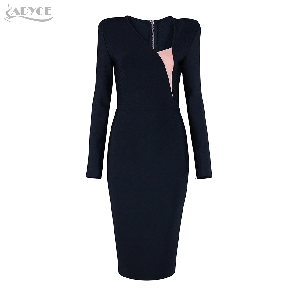 Adyce 2019 Vestidos de fiesta elegantes de otoño negro de malla de retazos de manga larga con cremallera trasera Vestidos de celebridad vestido de vendaje de mujer-in Vestidos from Ropa de mujer    2