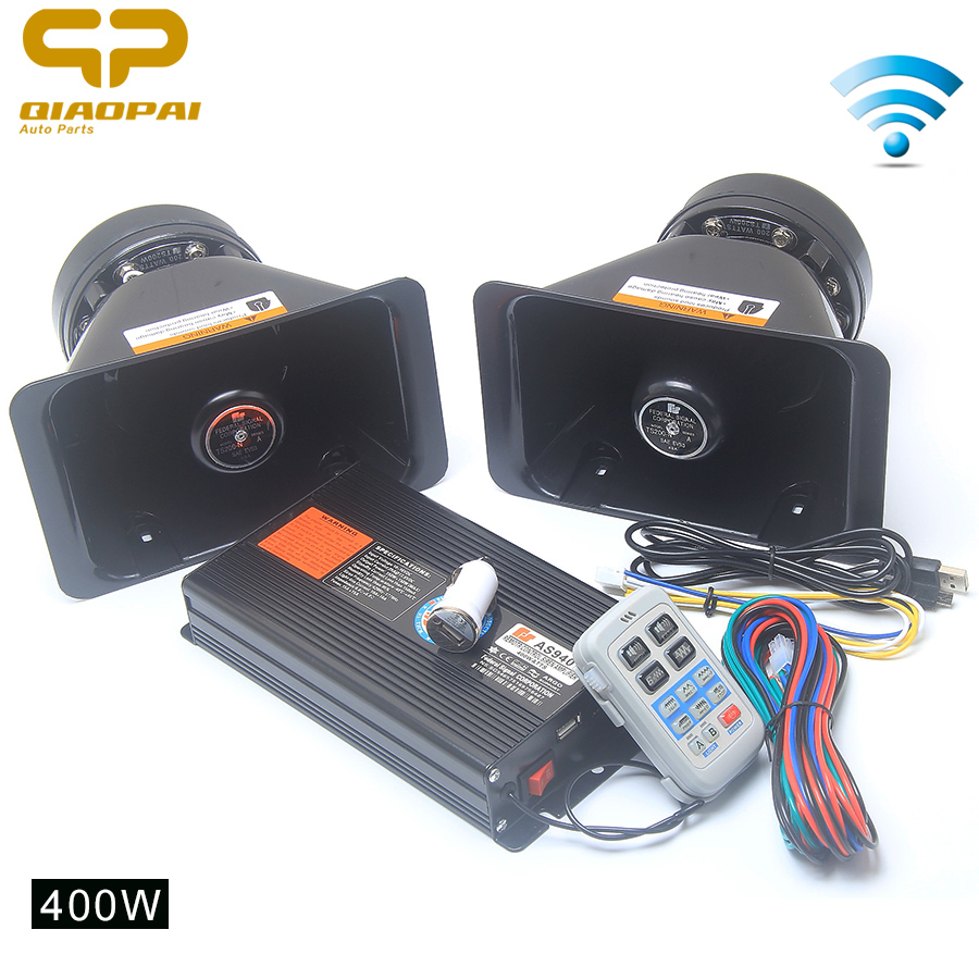 8 звук автомобиля сигнал 400 Вт 12 В Рог Беспроводной полицейская сирена автомобиль специальный голосовых сигналов громкоговоритель дистанци