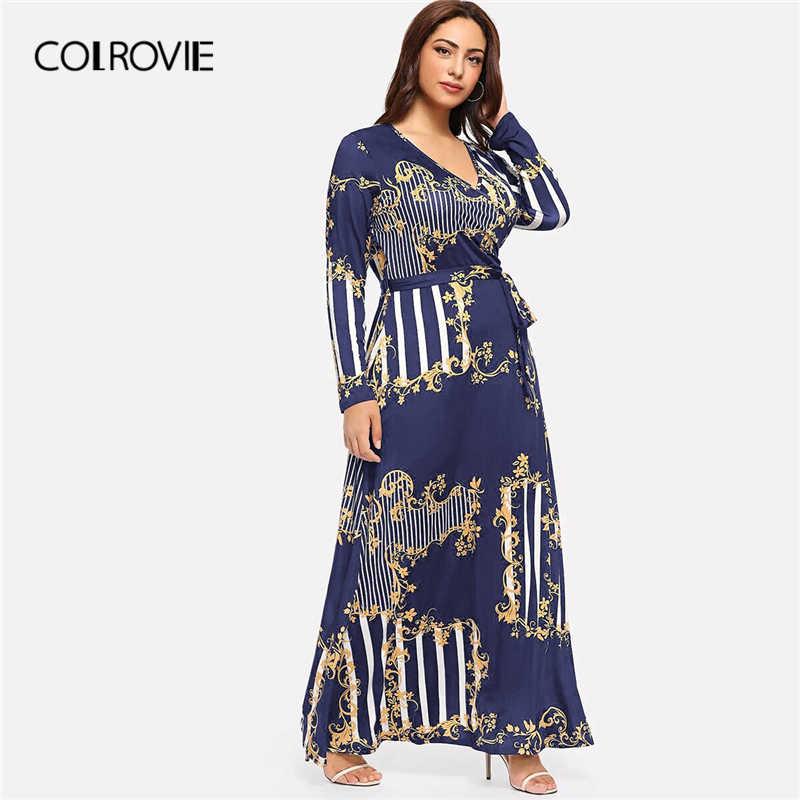 COLROVIE/черное Повседневное платье в полоску с смешанным принтом, большие размеры 2019, весеннее модное платье с длинными рукавами, ТРАПЕЦИЕВИДНОЕ ПЛАТЬЕ С Высокой Талией