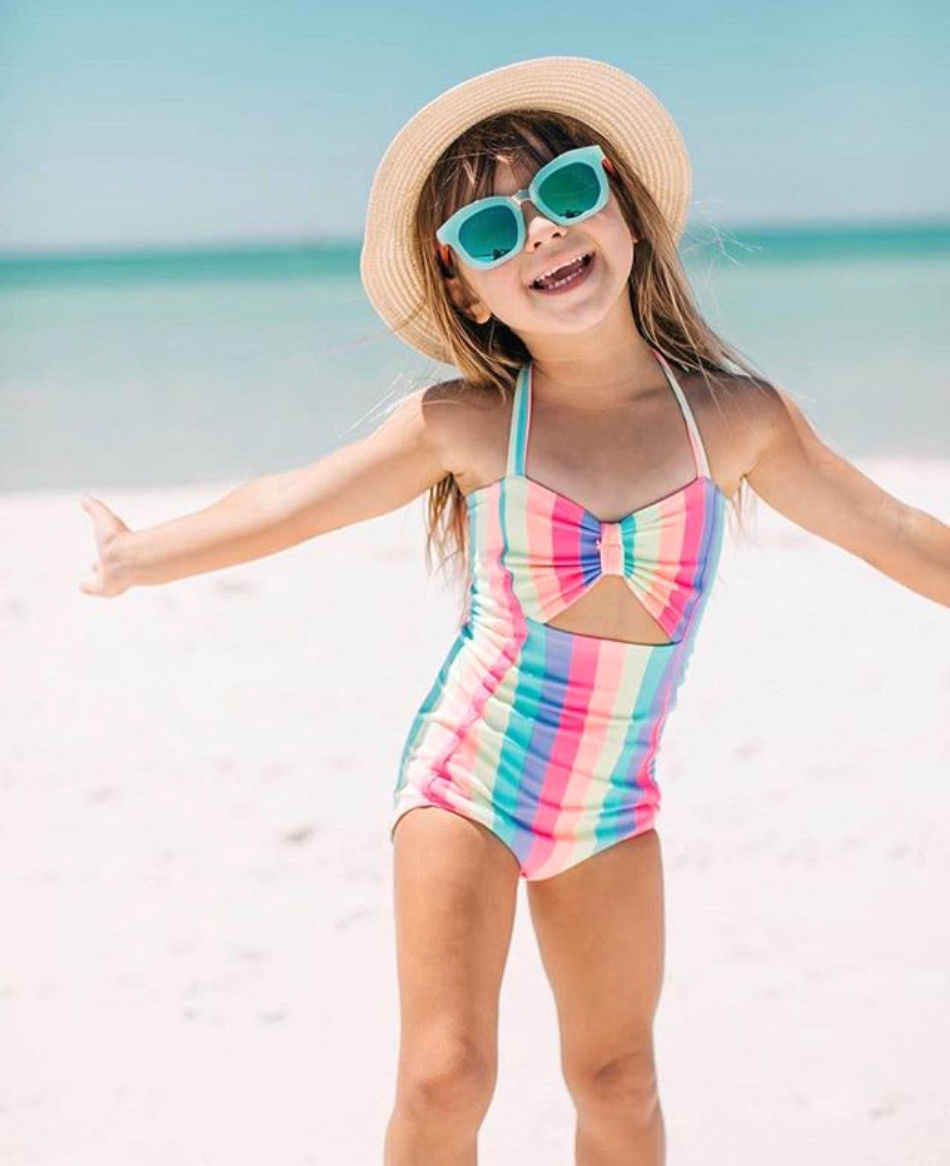 fb574403b0 2018 Hot Toddler Kids Baby Girl Child Bow Tie Rainbow One Piece Bikini  Swimwear Swimsuit Monokini