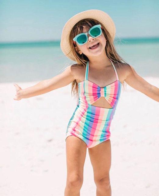 2018 Hot Balita Anak Bayi perempuan Anak Dasi kupu-kupu Rainbow One Piece Bikini Pakaian Renang Baju Renang Monokini Baju renang Beachwear