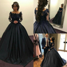 Exquisite Dark Navy Ball Gowns For Elegant Lady Party with Lace Appliques Beading Satin Prom Dress Off Shoulder Long Sleeves