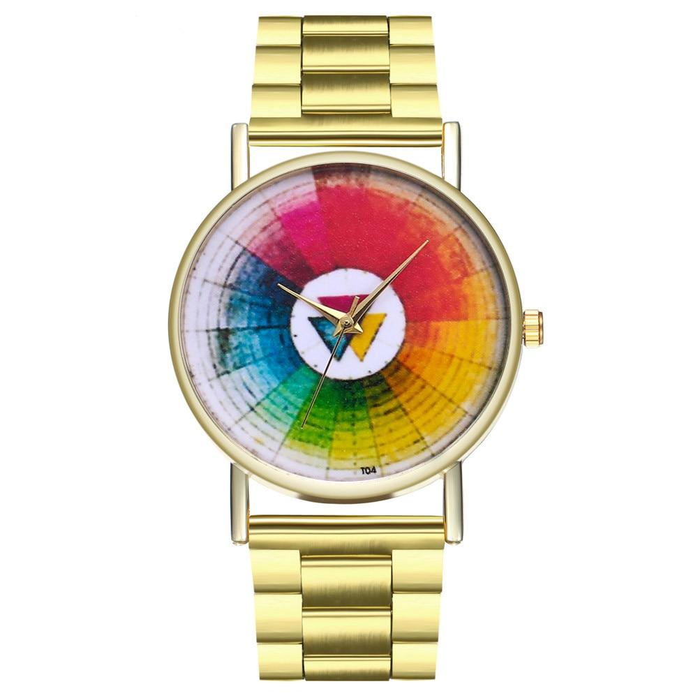 Gofuly Women Fashion Rainbow Design Steel Band Alloy Case Buckle Quartz Round Wrist Watch relojes hombre 2018