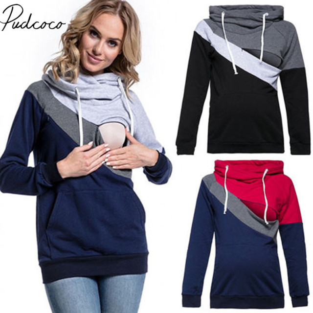 0411f1ba5bc6c 2018 Brand New Fashion Maternity Clothes Breastfeeding Tops Hoodies Sweat Women  Nursing Tops Patchwork Autumn Winter Clothes
