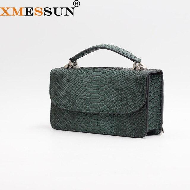 XMESSUN 高級本物のパイソン革ハンドバッグクロスボディショルダーバッグ蛇デザイナー日クラッチチェーンクロスボディバッグ