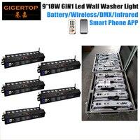 5in1 ładowania pakiet Flightcase ściemniania inteligentne oświetlenie 9x18 W Led spryskiwaczy ściany IRC zdalnego 2.4G bezprzewodowy DMX telefon wifi etap efekt w Oświetlenie sceniczne od Lampy i oświetlenie na