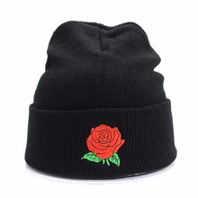 New Women's Clothing & Accessories Unisex Women Men Rose Embroidery Knitted Winter Warm Oversized  Ski  Hat Cap Baggy Beanie