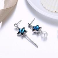 VENDITA calda S925 orecchini in argento sterling femminile moda retrò stelle perla gioielli orecchio di cristallo da Swarovski 2 Colori Per Le donne