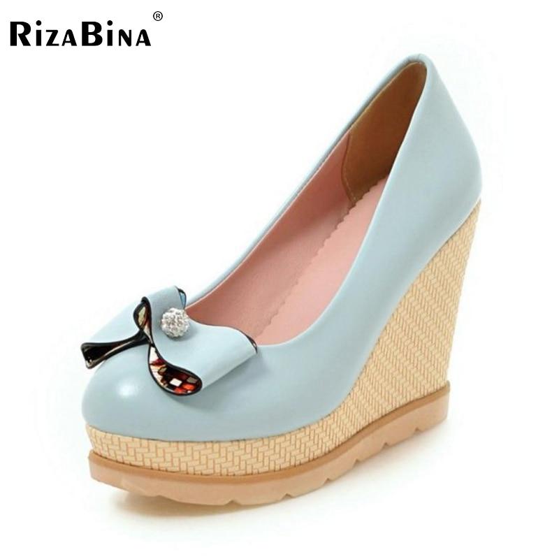 где купить RizaBina Rhinestone Bowtie High Wedges Platform Pumps For Women Casual Elegant Bowtie Slip-on Casual Round Toe Shoes Size 33-42 по лучшей цене