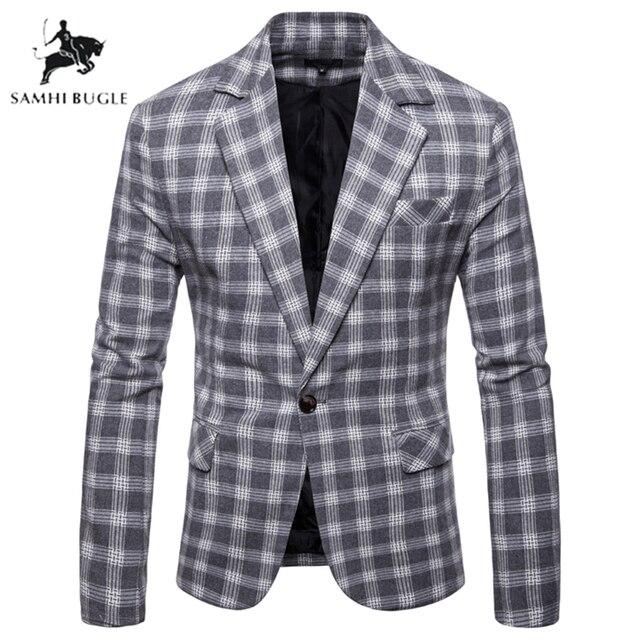 Fashion Plaid Blazer Men Slim Fit Single Button 2019 New Brand Clothing Blazer Jackets Casual Office Blazer Masculino