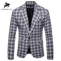 Fashion Plaid Blazer Men Slim Fit Single Button 2019 New Brand Clothing Blazer Jackets Casual Office Blazer Masculino