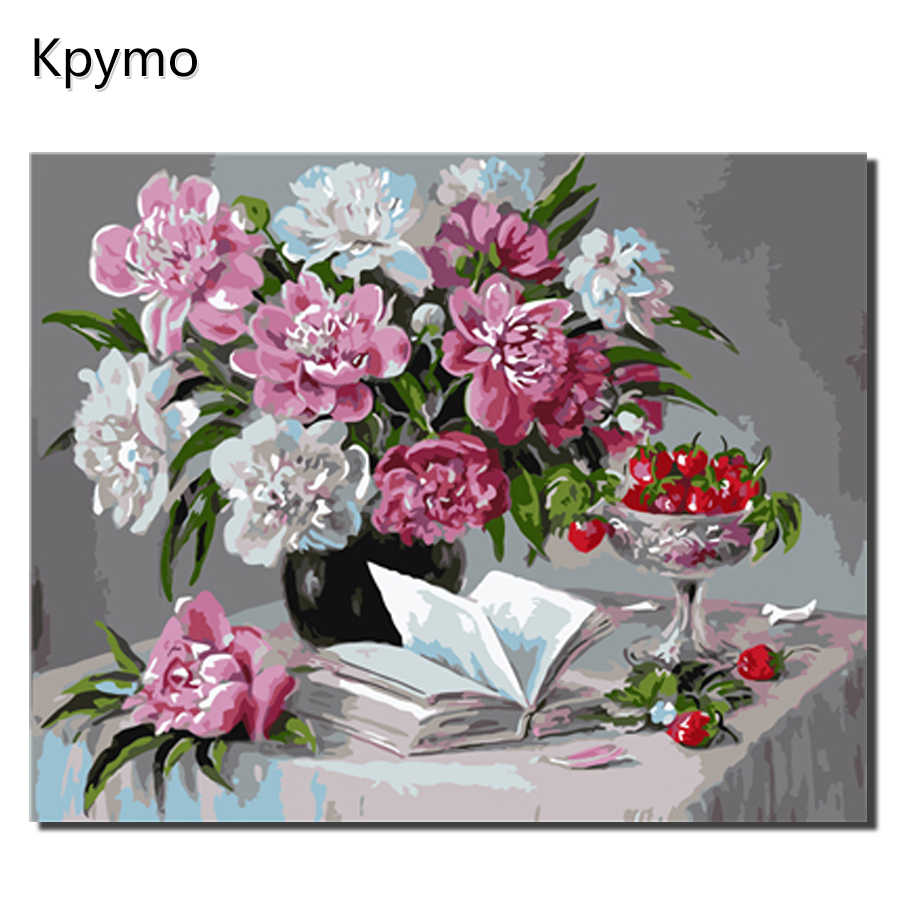 Framed  Painting By Numbers flower Canvas Oil Painting Home Decor For Living Room Kpymo VA-0313