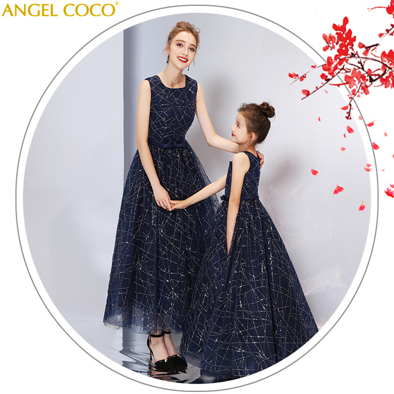 2019 Royal Blue Shining Sequins Family Matching Outfits Mother And Daughter Clothes Girls And Mom Women Party Dress Mae E Filha