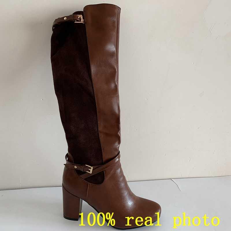 REAVE แมวผู้หญิงเข่า-รองเท้าบูทสูงยืดกลับฤดูหนาว warm รอบ toe แฟชั่น botas รองเท้ารองเท้าซิปหนาส้น A956