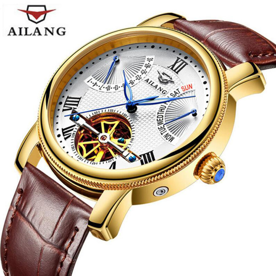 AILANG Skeleton Automatic Mechanical Watches For Men Genuine Leather Strap Clock Luminous Luxury Watch Men's relogio 2018 forsining gold hollow automatic mechanical watches men luxury brand leather strap casual vintage skeleton watch clock relogio