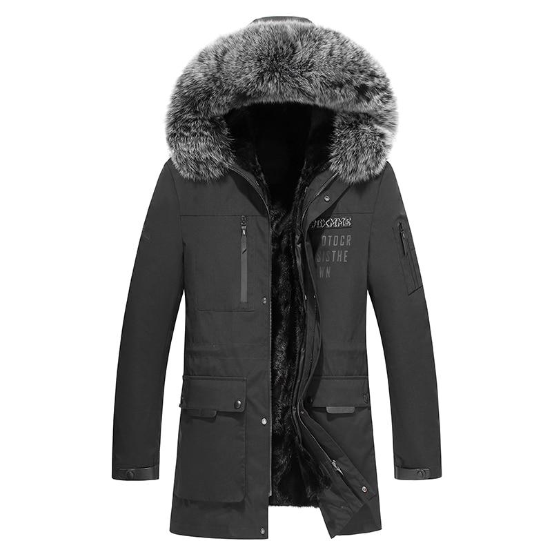 Genuine mink fur coat real fur jacket men coat fox fur collar Russia winter men(China)