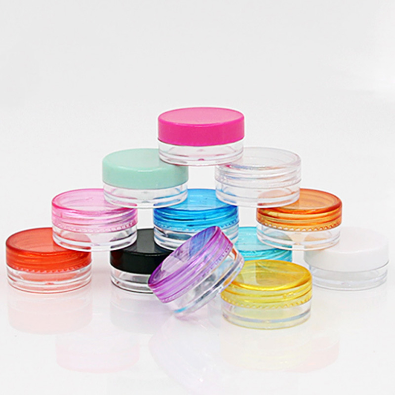 Transparent 10 Pcs /set Plastic Cosmetic Box Empty Jar Nail Art Cosmetic Storage Container Cord Round Bottle 5g Makeup Tool 25pcs powder paillette rhinestone storage plastic box case nail art cosmetic empty jar pot makeup face cream container bottle