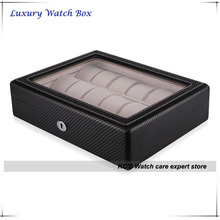 High Quality Black Carbon Fibre Finish 18 Watch Case Suitable for Big Watches Watch Display Box