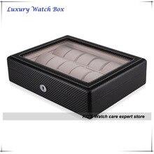Высокое качество черный углеродного волокна отделка 18 часы чехол подходит для большие часы часы дисплей ящик для хранения с окном GC02-TP-18W