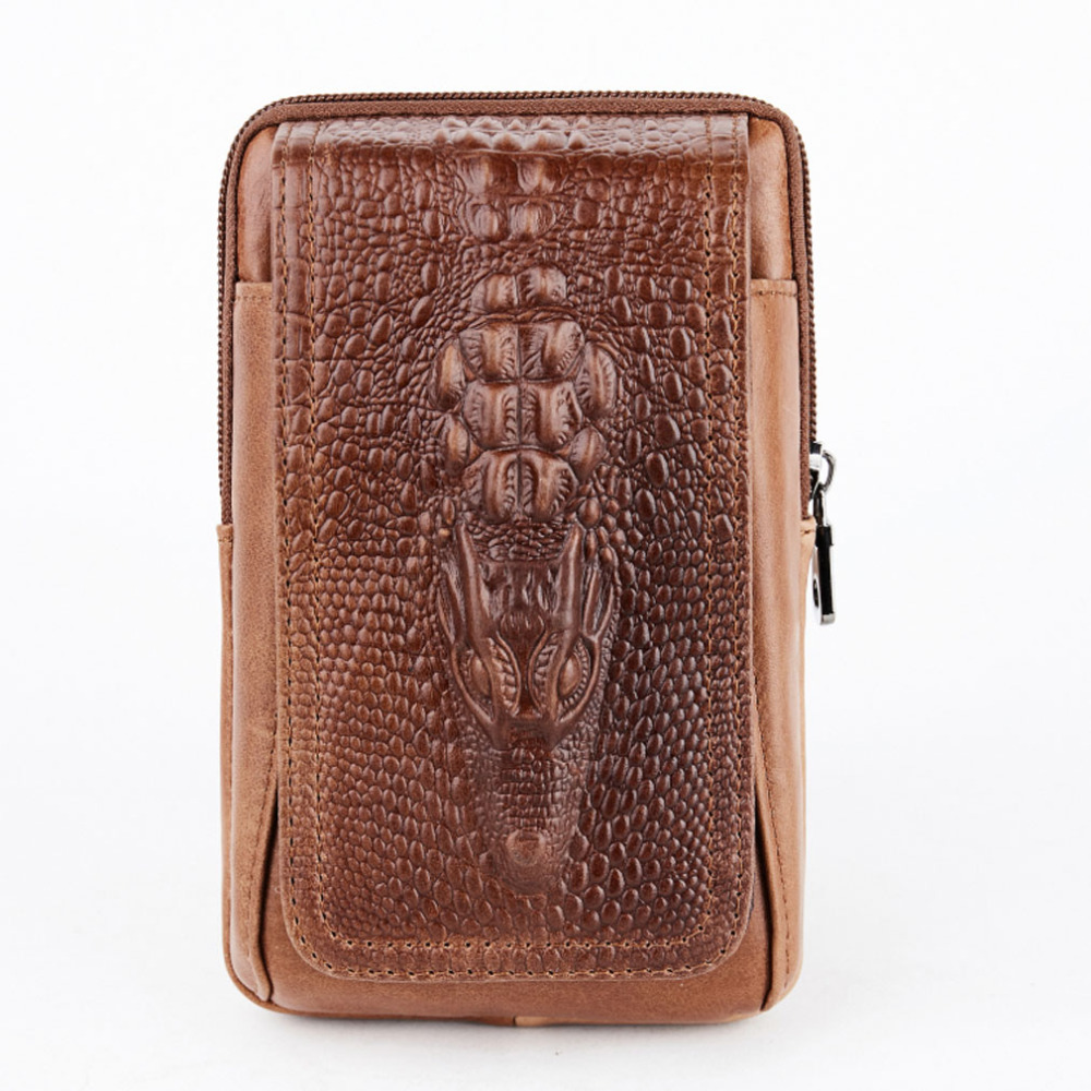 New Men Oil Wax Leather Cowhide Crocodile Travel Cell Mobile Phone Case Cover Hook Belt Pouch Purse Fanny Pack Waist Bag