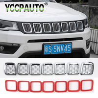 YCCPAUTO Front Grilles Cover Trim Frame For Jeep Compass 2017 up Honeycomb Car Styling ABS Decoration Mesh 7PCS Black Red Silver