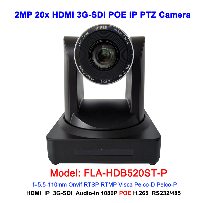 IP POE PTZ Camera 20x Optical Zoom View Angle Of 60.9 Degree 1080p 60fps With HDMI And 3G-SDI Interface