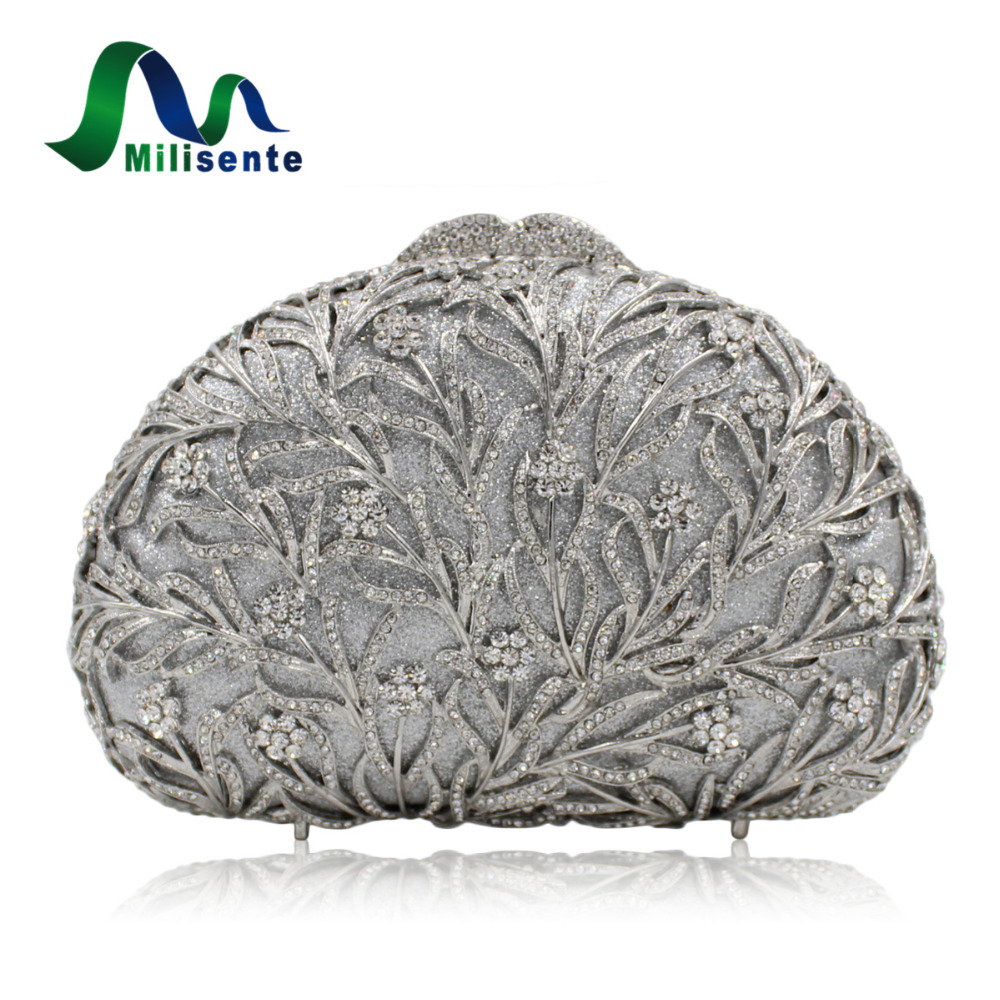 Milisente Women Evening Bags Silver Ladies Wedding Clutches Bag Gold Luxury Crystal Party Diamonds Clutch milisente high quality luxury crystal evening bag women wedding purses lady party clutch handbag green blue gold white