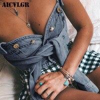 AICVLGR Vintage Denim Tank Tops Women Bustier Slim Sexy Crop Top Summer Short White Blue Camis Cool Girls Streetwear Camisole