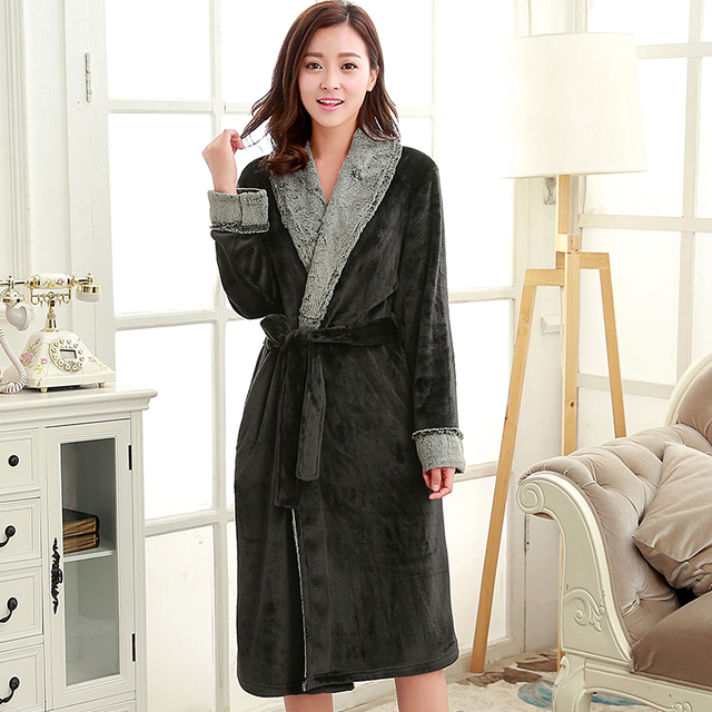 4218deea68f Femme de luxe fourrure soie doux Extra Long Kimono Robe de bain femmes  Peignoir chaud Robe