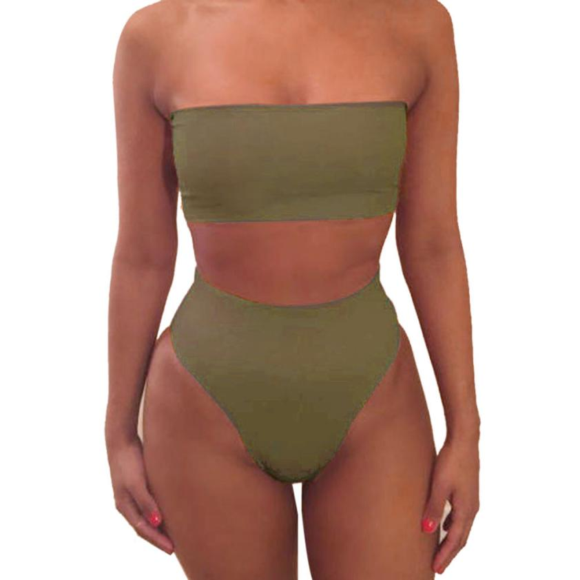 Women Bandeau Swimsuit Women 2018 Summer Beachwear Strapless Swimsuit High Leg Bathing Suit Beacher 7.2