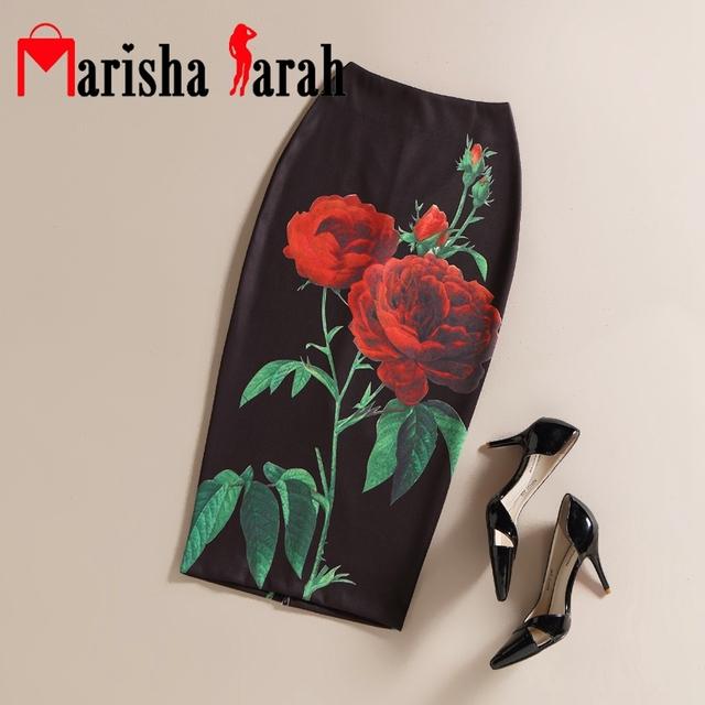 Negro vintage rose mujeres flor impreso faldas de cintura alta de lápiz floral elegante falda de midi oficina señora wear volver dividir faldas