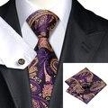 SN-571 Purple Peru Floral Tie Hanky Cufflinks Sets Men's 100% Silk Ties for men Formal Wedding Party Groom