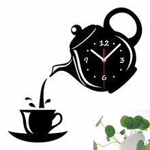 Wall Clock Coffee Cup Shape Decoration Kitchen Living Room Home