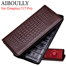 AIBOULLY For Oneplus 7 Pro Case Soft Silicone Back Flip Genuine Leather Cover For Oneplus 6 6T 7 Case Fundas Phone Capas