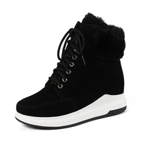 Dilalula Large Size 33 43 Platform Winter Sneakers Women Winter Warm Fur Ankle Boots Female lace up Wedges Shoes Woman