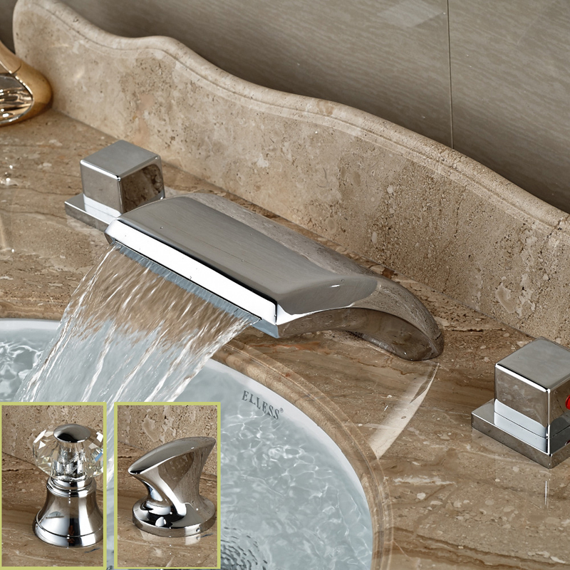 Wholesale And Retail Deck Mounted Chrome Brass Bathroom Basin Faucet Dual Handles Vanity Sink Mixer Tap Waterfall Spout зеркало ellux stripe led str a3 9110