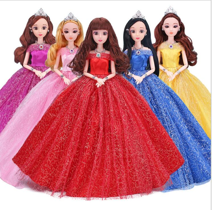 NK 2019 One Pcs Princess Doll Wedding Dress Party Gown Princess Cute Outfit Clothes For Barbie Doll Accessories Best Girls' Gift 2 items 1dress 1 set accessories 1pair earing 1necklace little girls s gift luxurious wedding dress for barbie doll