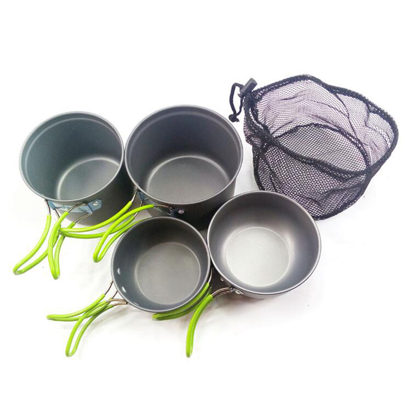 4 Pieces Of Hiking Picnic Meal Pot Backpack Cookware Set Aluminum Alloy Pot Suitable For 2-3 People Lightweight 450g Camping Coo