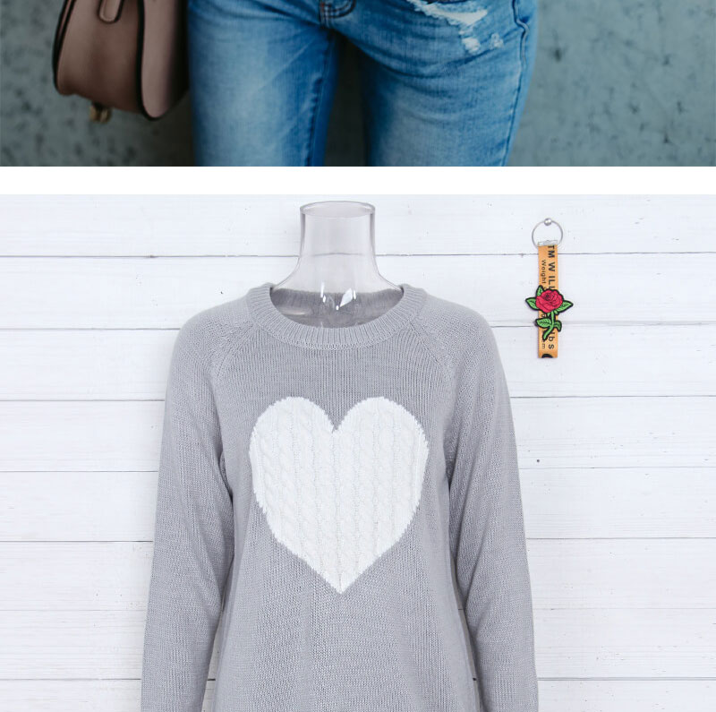 18 new winter white knitted sweater Women lantern sleeve loose gray pullover female Soft warm autumn casual love heart jumper 9