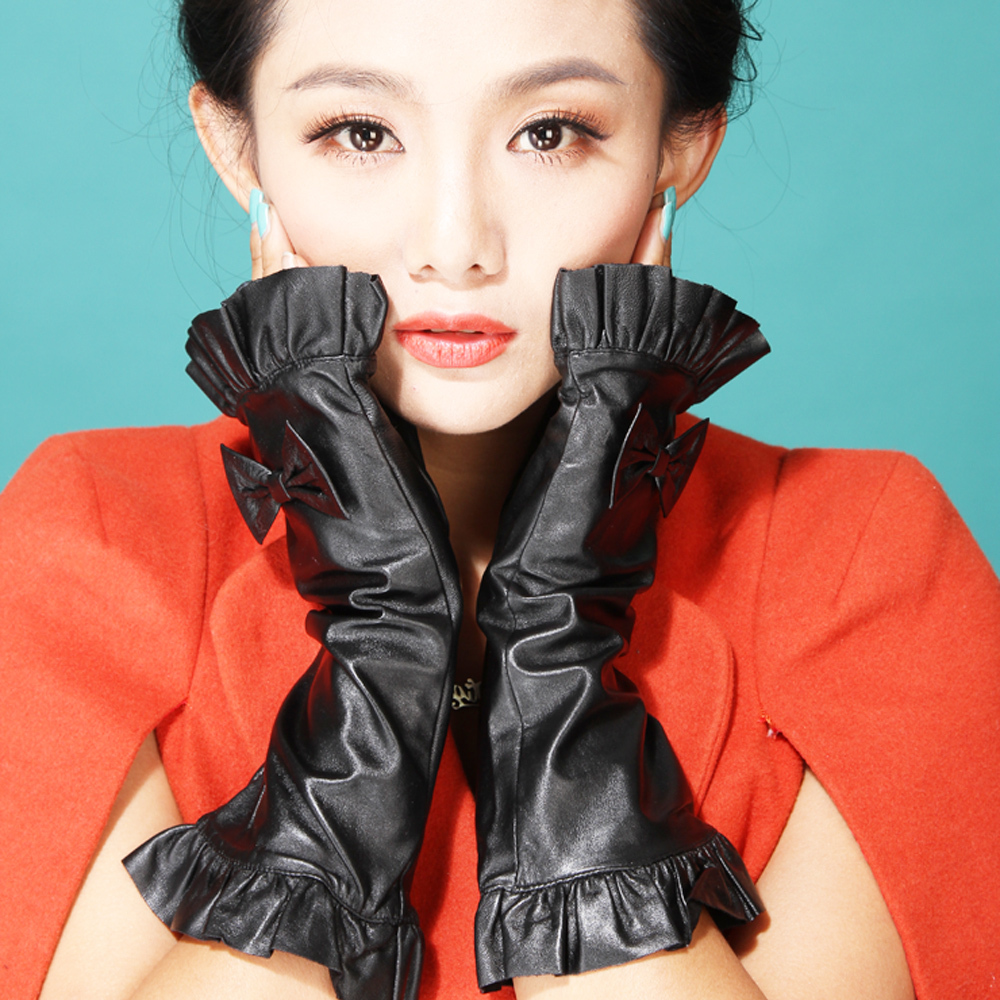 Kid leather driving gloves - 2016 Semi Finger Bow Knot Party Show Gift Fashion Time Lady Sexy Fingerless Kid Leather