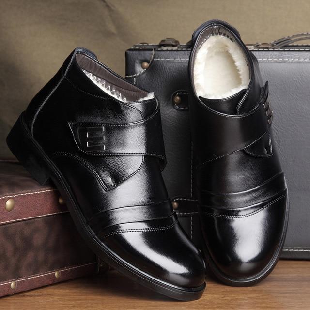 6ea5f319f17 US $25.42 |Split Leather Ankle Boots Men's Winter Shoes 2019 Business Warm  Plush Snow Work Boots Dad Shoes with Fur Men Boots Leather-in Basic Boots  ...