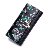Brand Leather Embossing Wallet Female Genuine Leather Bags Card &ID Holder Money Bags for Women Wallet and Purse