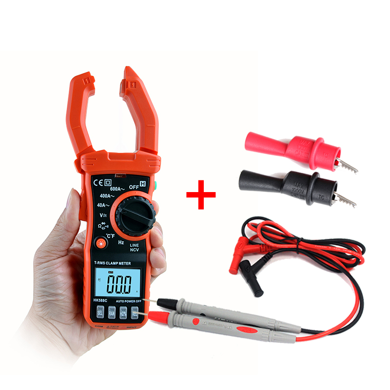 цена на Auto Range Digital Current Clamp Meter diagnostic-tool 600A DC/AC Multimeter Volt Amp Ohm HZ Temp Capacitance Tester NCV Test